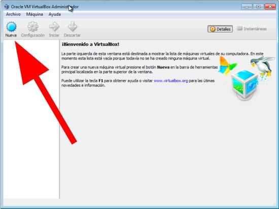 VirtualBox crear nueva máquina